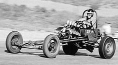 """1953 - Bob Rounthwaite Showed up with """"The Thingie"""" - at the Six-S Airport in Saugus, California. It was One of the Very First Rail-Job Designs with the Driver Atop the Rear End"""