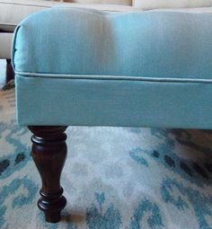 Overview: You'll upholster a piece of plywood and attach it to a wood base made of and wood legs to make this ottoman. Diy Storage Ottoman Coffee Table, How To Make Ottoman, Wood Sofa, Diy Home Crafts, Home Living Room, Slipcovers, Plywood, Farm House, Plant Hanger