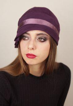 Aubergine cloche hat by Anna Chocola Brighton Milliner
