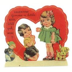 Vintage 1950s Valentines Day Greeting Card Girl and Boy with Doll and Puppy Toys