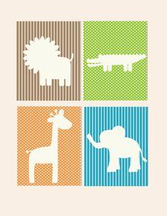 Kids Wall Art- Prints for Nursery- Zoo Wall Decor- Animal Wall Art- Jungle Theme - $40