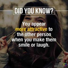 How to Always Be Listened to and Understood - psychology facts: you appear more attractive to the other person when you make them smile or laugh. True Interesting Facts, Interesting Facts About World, Intresting Facts, Psychology Says, Psychology Fun Facts, Psychology Quotes, Health Psychology, Love Facts, Real Facts