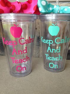 Keep Calm and Teach On Personalized Tumbler with lid and straw. $13.00, via Etsy.