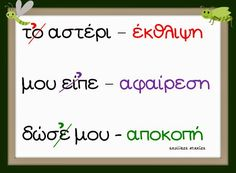 Greek Language, Speech And Language, School Lessons, Lessons For Kids, Learn Greek, Preschool Education, Teaching Methods, Grammar Worksheets, School Themes