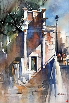 Angled Light - Italy by Thomas W. Schaller Watercolor ~ 22 Inches x 15 Inches