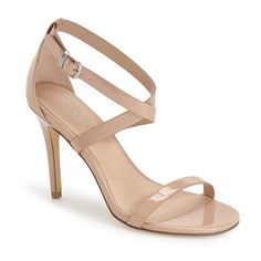 "Charles by Charles David 'Rookie' Sandal, 4"" heel (€110) ❤ liked on Polyvore featuring shoes, sandals, nude patent, ankle strap stilettos, wrap sandals, ankle wrap shoes, ankle strap high heel sandals и stilettos shoes"