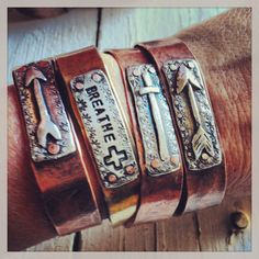 Copper Cuff Rustic Cowgirl Recycled Silver by CrossCanyonCowgirl