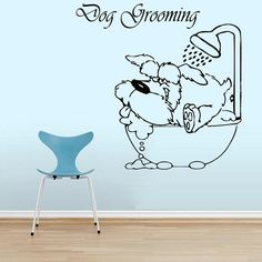 Wall Decals Quote Pet Grooming Decal Dog Bathroom Shower Foam Vinyl Sticker Pet-Shop Grooming Salon Home Decor Art Mural Ms273