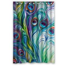 Beautiful Peacock Shower Curtain – Hotstyle Peacock Feather Bathroom Shower Curtains Polyester Waterproof 48 Wide x 72 High Flora-S-02237 www.amazon.com/…