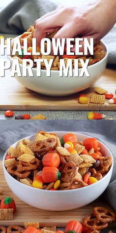 This Halloween Snack Mix for kids is a fun Fall treat! It's full of Chex cereal, pretzels, M & Ms, candy corn, Fall candy, and coated with a sweet caramel sauce. Food video, recipe video. #berlyskitchen