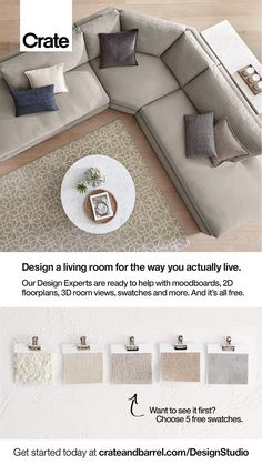 Home Room Design, Living Room Designs, U Couch, Living Room Furniture, Living Room Decor, Transitional Home Decor, Living Room Goals, Interior Design Services, Fabric Swatches