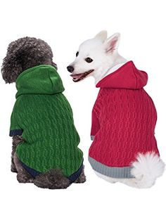 8ae941956 Blueberry Pet Warm Fleece Twist Cable Knitted Pull Over Hooded Dog Sweater  in Sea Green, Back Length Pack of 1 Clothes for Dogs ❤ Blueberry Pet