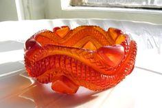 Heavily carved transparent HUGE bakelite bangle heart snake