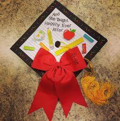 Elementary Education graduation cap - All For Simple Hair Teacher Graduation Cap, Graduation Cap Designs, Graduation Cap Decoration, Grad Cap, College Graduation, Preschool Graduation, Cap Decorations, Graduation Pictures, Grad Pics