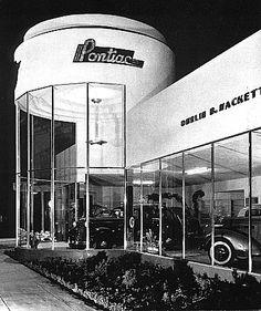 Streamlined Moderne car dealership.