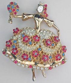VINTAGE RARE CORO CRAFT MARIA CAMARGO RHINESTONE BALLET DANCER PIN BRUNIALTI | eBay