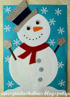 τάξη β' Lehrerideen: Zieh den Schneemann an! Christmas Card Crafts, Snowman Crafts, Christmas Cards To Make, Christmas Activities, Kids Christmas, Holiday Crafts, Winter Crafts For Kids, Theme Noel, Preschool Crafts