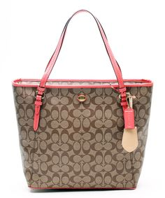 8db34de8d02e This Coach Khaki   Coral Peyton Signature Zip Top Tote by Coach is perfect!