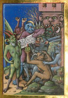 Hellmouth, 1461, Jacobi de Ancharano (alias de Teramo), Litigatio Christi cum Belial, verdeutscht - BSB Cgm 48 ([S.l.] (seldom seen demon with eye glasses, rw)