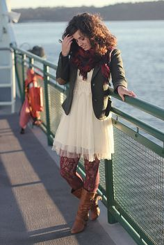 Can't pin point what I like tights and boots contrast with dress or the style and colour of dress with boots and jacket - must try this
