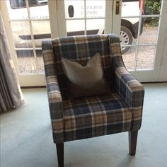 Occasional chair in Abraham Moon plaid - the finishing touch to a lovely scheme