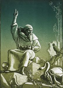 St. Francis Preaching to the Birds, Allen Lewis, 1933, colored woodcut, 9 5/8 in. x 6 7/8 in. Currier Museum of Art.