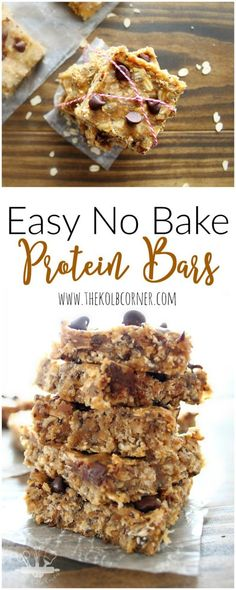 Easy No Bake Protein Bars. A healthy, clean eating snack or pre-workout meal tha. Easy No Bake Protein Bars. A healthy, clean eating snack or pre-workout meal that is easy to grab-and-go. Pin th. Healthy Protein Snacks, Protein Bar Recipes, Protein Desserts, Healthy Bars, Protein Powder Recipes, Healthy Baking, Healthy Treats, Snack Recipes, Cooking Recipes