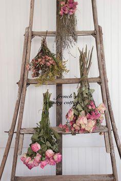 antique orchard ladder dried lavender roses vintage