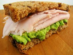 Turkey and Avocado Super Sandwich. This is one of my most favorite lunch meals. The avocado keeps the sandwich from being dry and the cinnamon raisin Ezekial bread gives it a bit of sweetness. Yes!