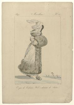 Georges Jacques Gatine   Incroyables et Merveilleuses, 1814, Merveilleuse, No. 20: Toque de Velours..., Georges Jacques Gatine, 1814   'Merveilleuse' met op het hoofd een 'toque' van fluweel versierd met struisveren. Zij draagt een 'witz-choura' (mantel) van satijn, afgezet met brede rand van bont. Rok met geschulpte zoom met bladmotief. De handen in een mof van bont. Schoenen met bont, strikken en spitse opwippende neuzen. Op de achtergrond schaatsende figuren. De prent maakt deel uit van…
