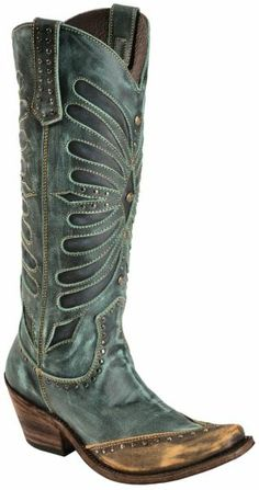 Liberty Black Turquoise Vintage Inlay Cowgirl Boots - Square Toe - Sheplers
