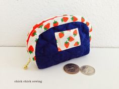 chick chick sewing: Half Moon Patchwork Pouch with Strawberry Bias Tap...