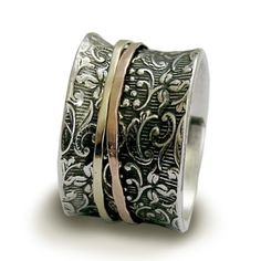 Wedding band  Sterling silver ring with rose and by artisanlook, $196.00