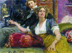 Portrait of poet, prose writer, translator and dramatist Sergei Mitrofanovich Gorodetsky with his wife - Ilya Repin