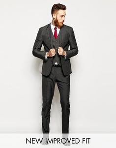 Image 1 of ASOS Slim Fit Suit Charcoal Pindot