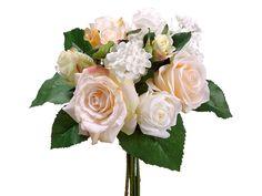 Rose Hydrangea Wedding Bouquet Peach Cream   Wedding Flowers   Afloral.com