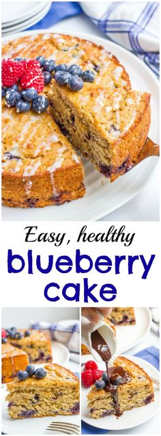 Blueberry cake with an easy lemon glaze - a healthy whole grain dessert recipe with no butter or oil!