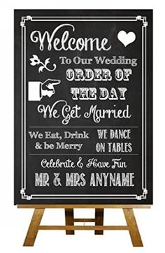 A3 Chalkboard Welcome Order Of The Day Vintage Personalised Wedding Sign / Poster