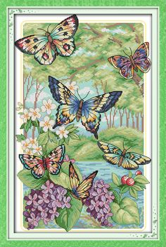 Cheap Sewing Tools & Accessory, Buy Directly from China Suppliers:	  	Butterflies Fly in The Forest  Counted 1CT 14CT DMC Cross Stitch DIY China Cross Stitch Kits for Embr