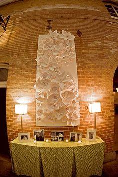 wedding reception evergreen paper sculpture