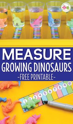 Here are some fun measurement activities for preschoolers.  Kids will enjoy using the printable measuring strip to record the growth of little growing dinosaurs. This is a great STEM activity for preschool and pre-k. Perfect for your dinosaur unit and or lesson plans.