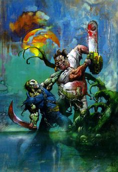 Original Comic Art titled Jason Vs Leatherface Cover Painting by Bisley, located in Matt's Simon Bisley Gallery of Paintings Comic Art Gallery Simon Bisley, Horror Icons, Horror Comics, Marvel Comics, Arte Horror, Horror Art, Art And Illustration, Comic Illustrations, Heavy Metal Art