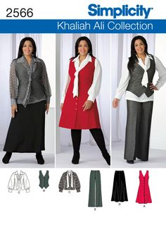 2566 Misses' & Plus Size Sportswear Misses' & Plus Size Khaliah Ali Collection pants skirt, blouse with tie and jumper or vest sewing pattern. See video tab for an in depth interview with Khaliah herself! Plus Size Sewing Patterns, Skirt Patterns Sewing, Simplicity Sewing Patterns, Clothing Patterns, Skirt Sewing, Blouse Patterns, Plus Size Sportswear, Make Your Own Clothes, Plus Size Pants