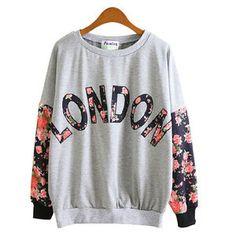 British style LONDON Floral Print Sweatshirt