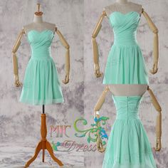 Cheapest Sweetheart knee-length zipper back mint green/chiffon/short prom/Evening/Party/Homecoming/cocktail /Bridesmaid/Formal Dress