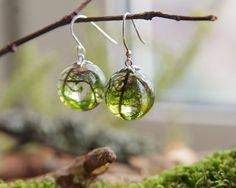 Véritable mousse globe crochets de sterling silver 925 boucles d'oreilles - trouvez de l'automne boisé unique-