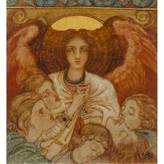 ANGELUS DE SOMMIÉ by PHOEBE ANNA TRAQUAIR (SCOTTISH 1852-1936)  29CM X 27CM (11.5IN X 10.5IN)