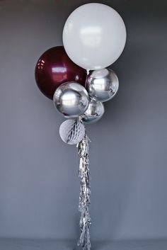 Balloon Set : Silver Burgundy #balloon-sets #new - But I want the two large balloons to be in Burgundy and Coral with the other balloons in gold