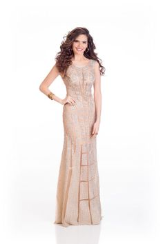 Lara Debbane Miss Egypt in evening robe for Miss Universe.