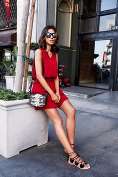 red dress with lace up sandals